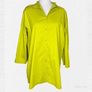Eileen Fisher Chartreuse Oversized Button Up Tunic
